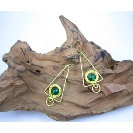 Boucles d'oreilles en Laiton et Aventurine - BC074