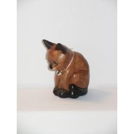 Petit chat sculpté en bois de Suar - N°19
