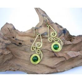 Boucles d'oreilles en Laiton et Aventurine - BC076