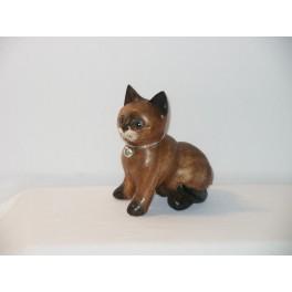 Petit chat sculpté en bois de Suar - N°20
