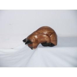Petit chat sculpté en bois de Suar - N°22