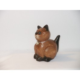 Petit chat sculpté en bois de Suar - N°23