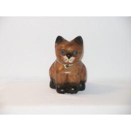 Petit chat sculpté en bois de Suar - N°24