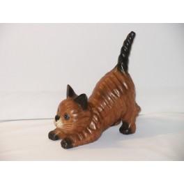 Chat joueur queue droite en bois de Suar - 18 X 15