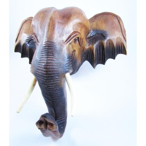 T te d 39 l phant d 39 asie sculpt en bois de suar 31x31 - Tete d elephant mural ...