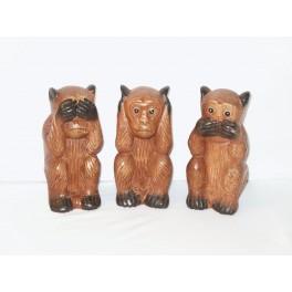3 Singes de la sagesse sculpté en bois de Suar