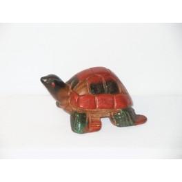 Tortue colorée sculpté en bois de Suar - 9x6