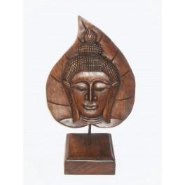 Tête de Bouddha Thai sur Feuille en bois de suar