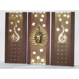 Triptyque Bouddha Bordeaux et Or - 70 X 90 cm