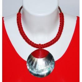 Collier Ethnique en Nacre et Tressage rouge