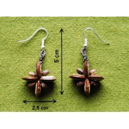 """Boucles d'oreilles en noix coco """"Fleur"""""""