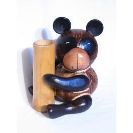Tirelire et Porte Crayon Panda en noix de coco