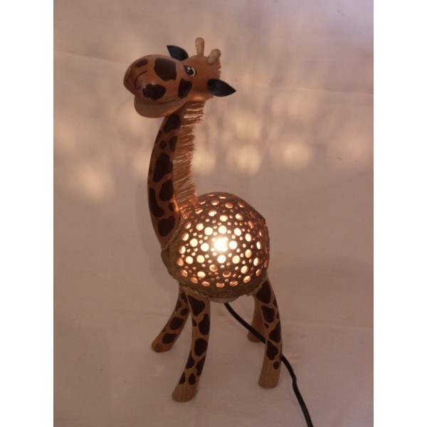 lampe girafe 40cm en noix de coco. Black Bedroom Furniture Sets. Home Design Ideas