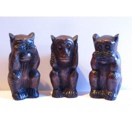 3 Singes noir de la sagesse sculpté en bois de Suar