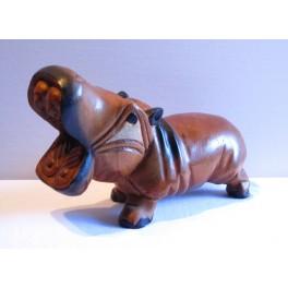 Hippopotame sculpté en bois de Suar PM