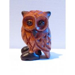 Chouette sculpté en bois de Suar 8 x 5