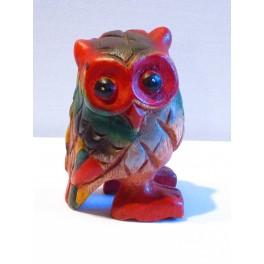 Chouette coloré sculpté en bois de Suar 8 x 5