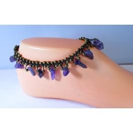 Bracelet de cheville avec perles et pierres Améthyste mauve
