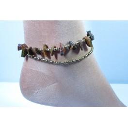 Bracelet de cheville avec perles et pierres Oeil de Tigre
