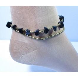 Bracelet de cheville avec perles et pierres d'onyx