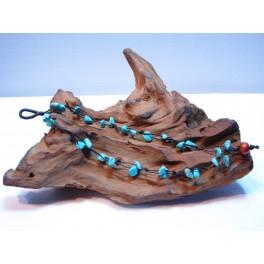 Bracelet en Fil de coton ciré et pierres Turquoise