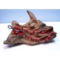 Bracelet en Fil de coton ciré et pierres de Corail