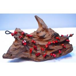 Bracelet de cheville en Fil de coton ciré et pierres de Corail