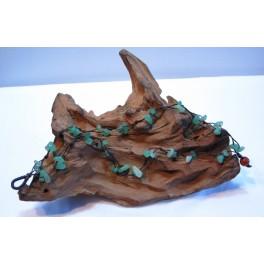 Bracelet de cheville en Fil de coton ciré et pierres de Jade