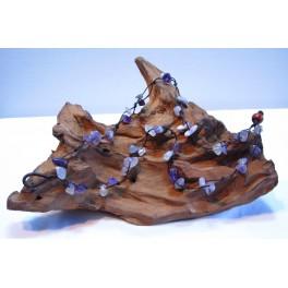Bracelet de cheville en Fil de coton ciré et pierres Améthyste mauve