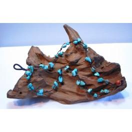 Bracelet de cheville en Fil de coton ciré et pierres Turquoise