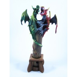 Brule Encens Double Dragon Volant Vert et Rouge