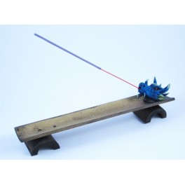 Porte Encens en Bambou Avec Tête de Dragon Bleu