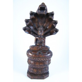 Statue de Bouddha Pang Nak Prok en Teck