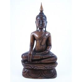 Statue de Bouddha Bhumisparsa Mudra en Teck