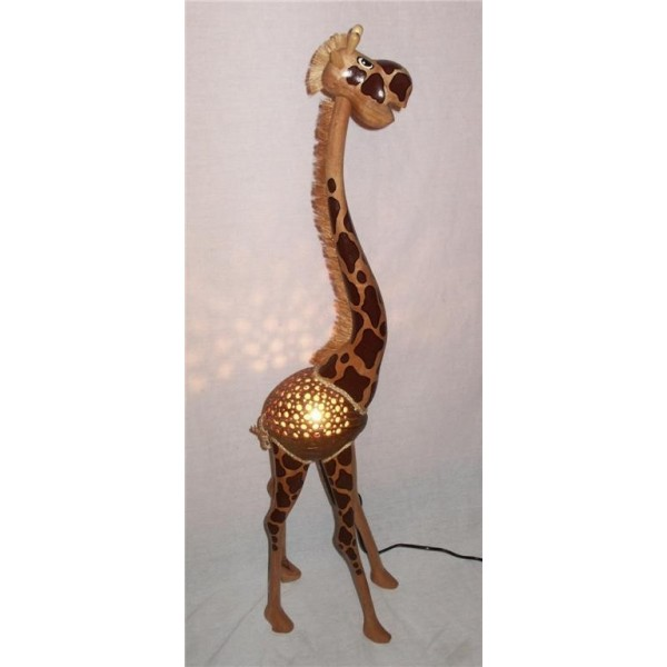 lampe girafe 90cm en noix de coco. Black Bedroom Furniture Sets. Home Design Ideas