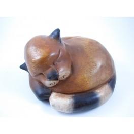 Chat Couché en Rond en bois de suar - 20 X 12