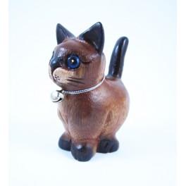 Petit chat sculpté en bois de Suar - N°29