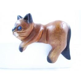 Petit chat sculpté en bois de Suar - N°31