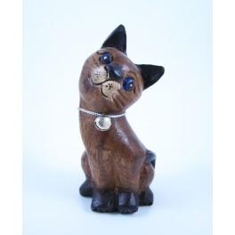 Petit chat sculpté en bois de Suar - N°32