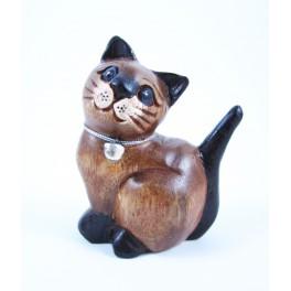 Petit chat sculpté en bois de Suar - N°34