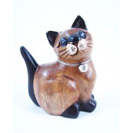Petit chat sculpté en bois de Suar - N°35