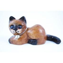 Petit chat sculpté en bois de Suar - N°36