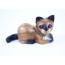 Petit chat sculpté en bois de Suar - N°37