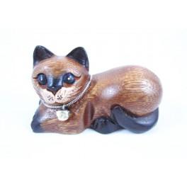 Petit chat sculpté en bois de Suar - N°38
