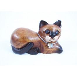Petit chat sculpté en bois de Suar - N°39