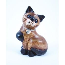 Petit chat sculpté en bois de Suar - N°40