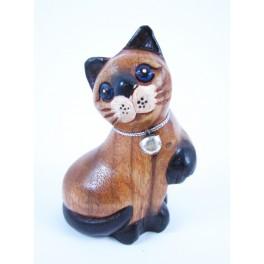 Petit chat sculpté en bois de Suar - N°41