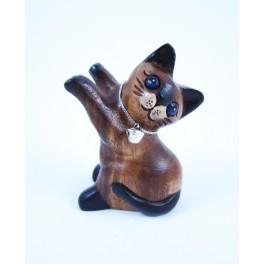 Petit chat sculpté en bois de Suar - N°42