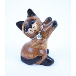 Petit chat sculpté en bois de Suar - N°43
