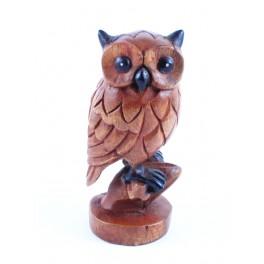 Chouette Sculpté en bois de suar 18x7